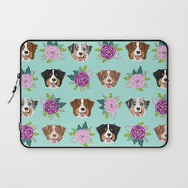 Australian Shepherd dog breed dog faces cute floral dog pattern Laptop Sleeve