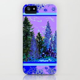 BLUE-LILAC WINTER SNOWFLAKE CRYSTALS FOREST ART DESIGN iPhone Case
