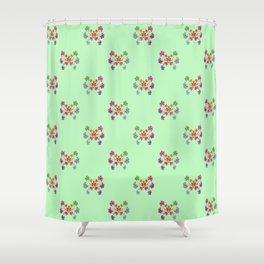 Geraniums Green Shower Curtain