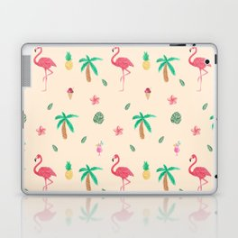 Cute Watercolor Pink Flamingos and Palm Trees Laptop & iPad Skin