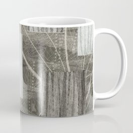 Nature Print Neutral Leaves and Squares Coffee Mug