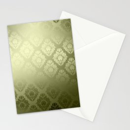 """Olive Damask Pattern"" Stationery Cards"