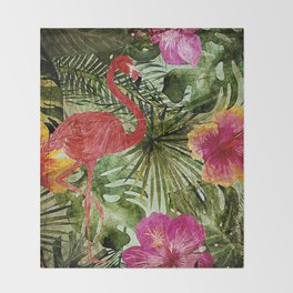 Tropical Vintage Exotic Jungle- Floral and Flamingo watercolor pattern Throw Blanket