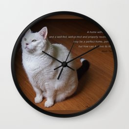 Cat with Mark Twain quote Wall Clock
