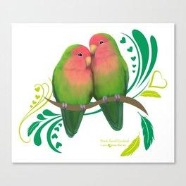 Peach Faced Lovebirds Canvas Print
