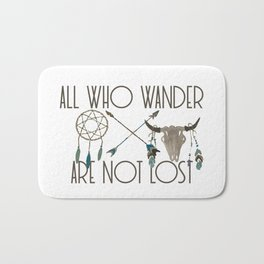 All Who Wander Are Not Lost Native American Dreamcatcher Arrows and Skull Bath Mat
