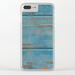 blue wooden background Clear iPhone Case