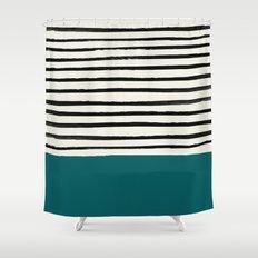 Dark Turquoise & Stripes Shower Curtain