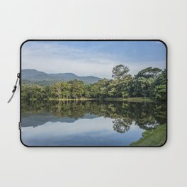 Idyllic scenic landscape of Ang Kaew Reservoir lake, surrounded by trees and mountains. Laptop Sleeve