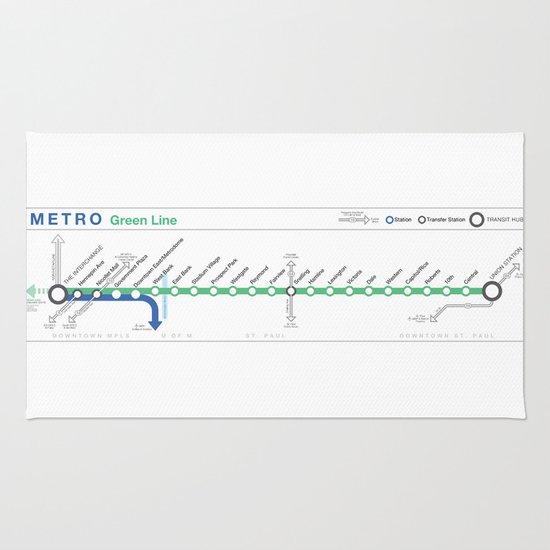 Twin Cities METRO Green Line Map Rug