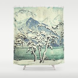 Seasonal Snow at Dara Shower Curtain