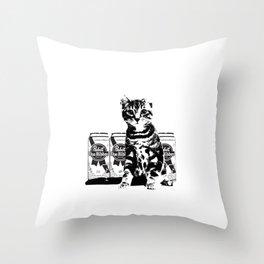 Bodega Kitty Throw Pillow