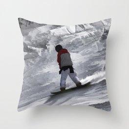 "Snowboarder ""just cruisin'"" Winter Sports Gift Throw Pillow"