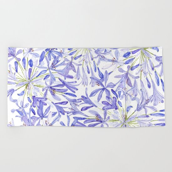 blue purple African lily watercolor painting Beach Towel