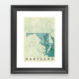 Maryland State Map Blue Vintage Framed Art Print