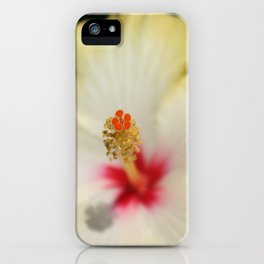 Close Up of Stamen And Pollen Yellow Hibiscus  iPhone Case