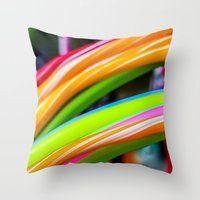 games Throw Pillows featuring Colorful Games by Nathalie Photos