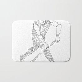 Field Hockey Player Doodle Bath Mat