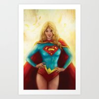 supergirl Art Prints featuring Supergirl by SachsIllustration