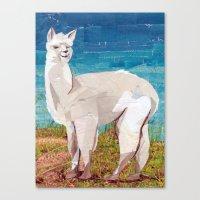 alpaca Canvas Prints featuring Alpaca by GiGi Garcia Collages