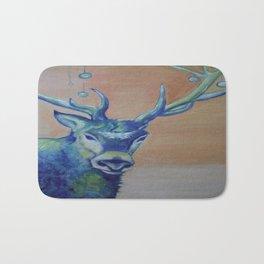 Blue Reindeer by Amit Grubstein  Bath Mat