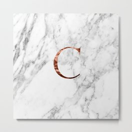 Monogram rose gold marble C Metal Print