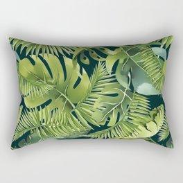 Lush Green Monstera And Palm Leaf Pattern Rectangular Pillow