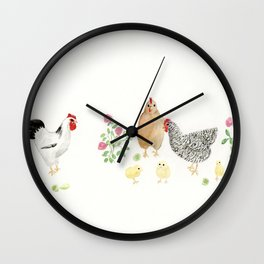 Cickens, Roses, Limes Wall Clock