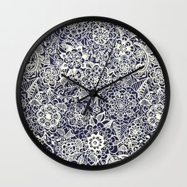 Lace on Nautical Navy Blue Wall Clock