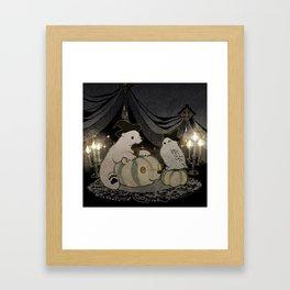 halloween polar bear and white owl Framed Art Print