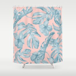 Island Life Pale Teal Blue on Millennial Pink Shower Curtain