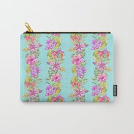 Luscious Jungle Flower And Leaf Stripes on Turquoise Carry-All Pouch