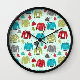 Holiday winter sweaters pattern print knitted knitting crochet yarn wool crafts Wall Clock
