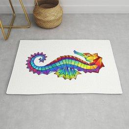 Rainbow Polygonal Seahorse Rug