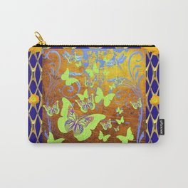 Decorative Butterflies Blue-Gold Patterns Floral Carry-All Pouch