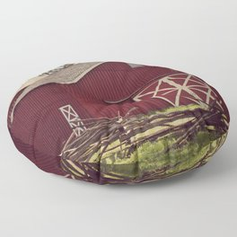 Old Red Barn Floor Pillow