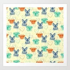 Dog loves doggy Art Print