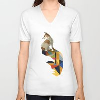 jack russell V-neck T-shirts featuring Walking Shadow, Jack Russell by Jason Ratliff
