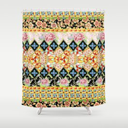 Folkloric Crazy Quilt (printed) Shower Curtain