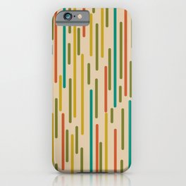 Mid Century Mod Line Dance Pattern in Orange, Teal, Mustard, Olive, and Beige iPhone Case
