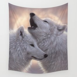 Wolves Howling Moon - Love Song Wall Tapestry