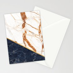Classy Elegant White Blue Gold Marble Stationery Cards