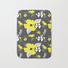 Yellow and Black Drawn Flowers on Gray Bath Mat