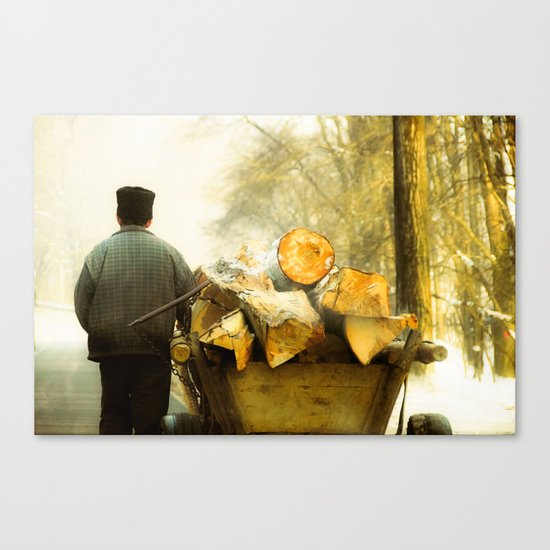 Farmer and Wood Cart in Moldova, Romania Canvas Print