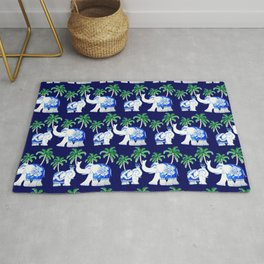 Chinoiserie Elephant on classic blue with palm trees Rug