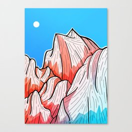 The red and blue tipped mountains Canvas Print