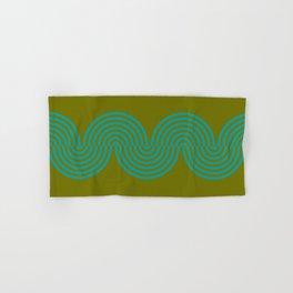 groovy minimalist pattern aqua waves on olive Hand & Bath Towel