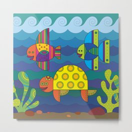 Stylize fantasy fishes and turtle under water. Metal Print