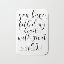 BIBLE VERSE WALL Art, Psalm 4:7, You Have Filled My Heart With Great Joy,Scripture Art,Bible Cover Bath Mat