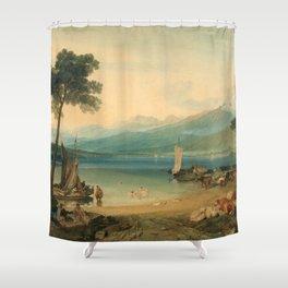 "J.M.W. Turner ""Lake Geneva and Mount Blanc"" Shower Curtain"